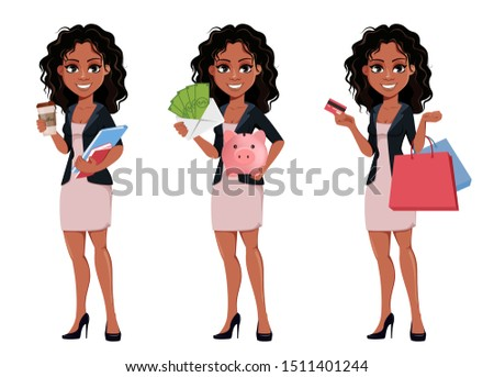 Beautiful young African American business woman in fashionable clothes, set of three poses. Cute businesswoman holds coffee, holds money and holds credit card. Vector illustration.