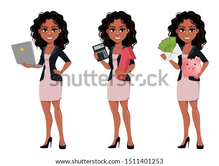 Beautiful young African American business woman in fashionable clothes, set of three poses. Cute businesswoman holds laptop, holds calculator and holds money and piggy bank. Vector illustration.
