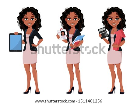 Beautiful young African American business woman in fashionable clothes, set of three poses. Cute businesswoman cartoon character holds tablet, holds badge and holds calculator. Vector illustration.