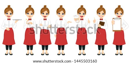 Beautiful young barista waitress set collection standing in different poses