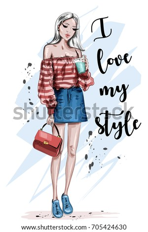 Beautiful young blonde hair woman. Stylish girl in fashion clothes. Hand drawn fashion woman. Sketch. Vector illustration.