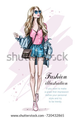 Beautiful young blonde hair woman with bag. Hand drawn fashion girl. Fashion model posing. Sketch. Vector illustration.