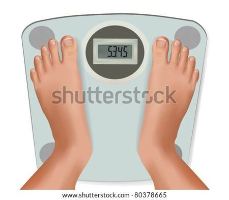 Beautiful young feet on the scale. Concept of diet. Vector.