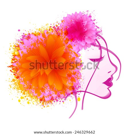 Beautiful young girl face closing her eyes with flowers and color splash on white background for International Women\'s Day celebration.