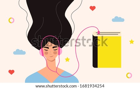 Beautiful young girl in headphones listening to audiobook. Audiobooks concept. Woman listening to books online, enjoying literature, learning. Audio bookworm. Flat vector illustration Stockfoto ©