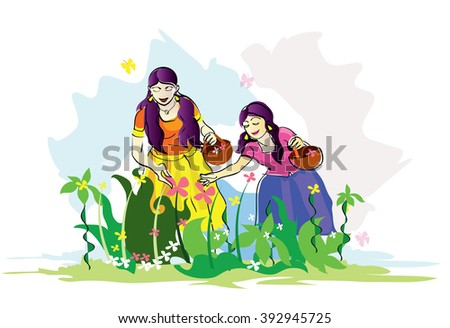 Beautiful young girls in traditional dress collecting flowers for South Indian festival, Happy Onam celebration.