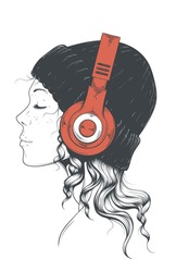 Beautiful young hipster girl in a stylish modern hat with curly locks side view. Pretty woman listening to music in yer red brandless headphones. Hand drawn vector art.