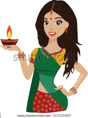Beautiful Young Indian woman holding the festival lamp diwali