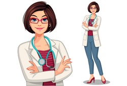 Beautiful young lady doctor with stethoscope and apron in standing position vector illustration 1