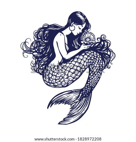 Beautiful young mermaid with the sea shell and pearl. Sea underwater fantasy creature with tail and decorative long hair. Hand drawn vector illustration, design for coloring book, tattoo and poster.