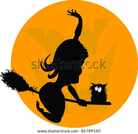 beautiful young witch on a broomstick in the air;