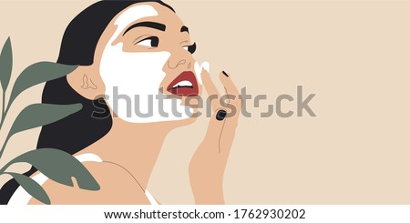 Beautiful young woman applying cosmetic product. Woman face and green plant. Skin care banner. Skincare routine, mask applying and cosmetics. Vector concept illustration.