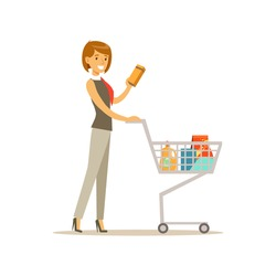 Beautiful young woman character pushing supermarket shopping cart with groceries vector Illustration
