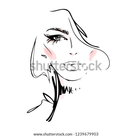 Beautiful young woman face black and white vector drawing sketch. Abstract girl model portrait fashion illustration for modern print design.