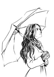 Beautiful Young Woman Holding Umbrella Rain