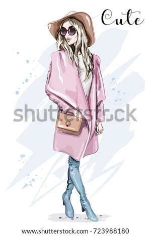 Beautiful young woman in coat and hat. Stylish clothing outfit. Fashion look. Sketch. Vector illustration.