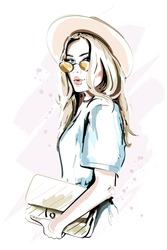 Beautiful young woman in hat. Fashion lady in sunglasses. Stylish woman portrait. Sketch. Vector illustration.