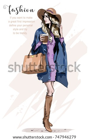 Beautiful young woman in hat. Stylish woman in fashion clothes. Fashion lady. Autumn outfit. Hand drawn girl holding coffee cup. Sketch.