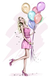 Beautiful young woman with colorful birthday balloons. Stylish cute blonde hair girl in pink dress. Hand drawn woman in fashion clothes. Sketch. Vector illustration.