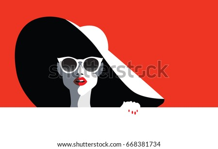 Beautiful young woman with sunglasses and hat, retro style. Pop art. Summer holiday. Vector eps10 illustration