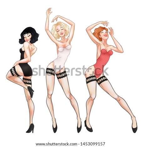 beautiful young women dancing