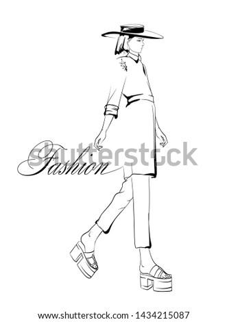 Beautiful young women. Hand drawn fashion girl. Fashion model posing. Sketch. Vector illustration.