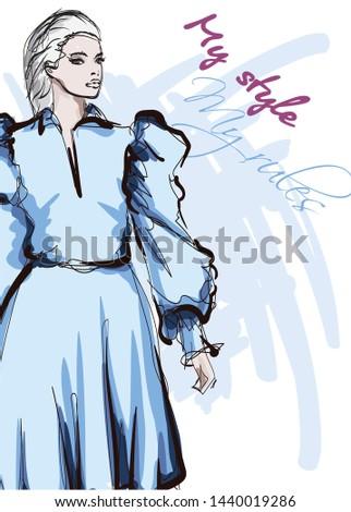 Beautiful young women in a blue dress. Hand drawn fashion girl. Fashion model posing. Sketch. Vector illustration.
