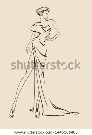 Beautiful young women in a evening dress. Hand drawn fashion girl. Fashion model posing. Sketch. Vector illustration.