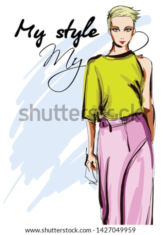 Beautiful young women  in a green blouse and pink trousers. Hand drawn fashion girl. Fashion model posing. Sketch. Vector illustration.