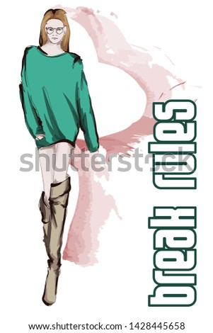 Beautiful young women in a green sweater and high boots. Hand drawn fashion girl. Fashion model posing. Sketch. Vector illustration.