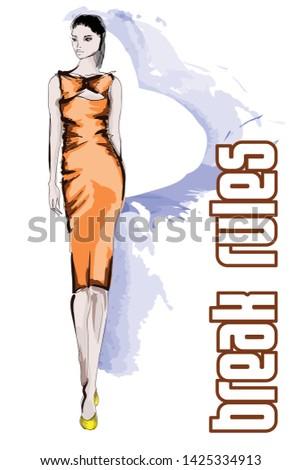 Beautiful young women in a orange dress. Hand drawn fashion girl. Fashion model posing. Sketch. Vector illustration.