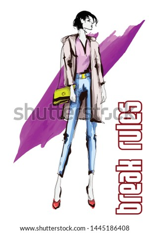 Beautiful young women in a pink blouse and blue trousers. Hand drawn fashion girl. Fashion model posing. Sketch. Vector illustration.