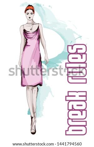 Beautiful young women in a pink dress. Hand drawn fashion girl. Fashion model posing. Sketch. Vector illustration.