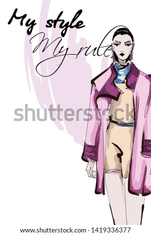 Beautiful young women  in a pink jacket. Hand drawn fashion girl. Fashion model posing. Sketch. Vector illustration.