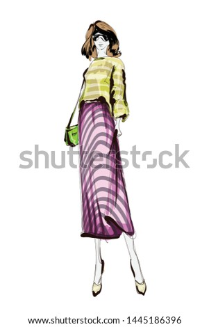 Beautiful young women in a pink striped skirt and yellow blouse. Hand drawn fashion girl. Fashion model posing. Sketch. Vector illustration.
