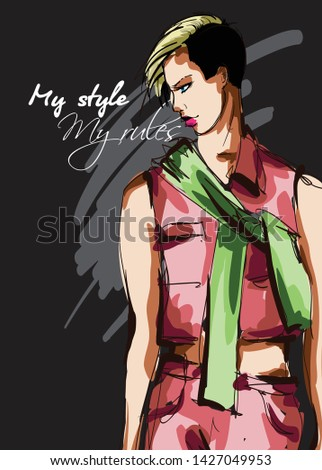 Beautiful young women in a pink suit and a green scarf. Hand drawn fashion girl. Fashion model posing. Sketch. Vector illustration.