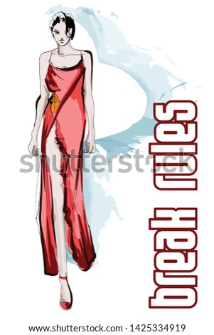 Beautiful young women in a red dress. Hand drawn fashion girl. Fashion model posing. Sketch. Vector illustration.