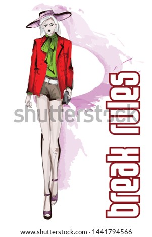 Beautiful young women in a red jacket, shorts, green blouse and wide-brimmed hat. Hand drawn fashion girl. Fashion model posing. Sketch. Vector illustration.