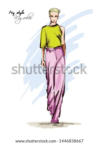 Beautiful young women in a yellow blouse and pink breeches. Hand drawn fashion girl. Fashion model posing. Sketch. Vector illustration.