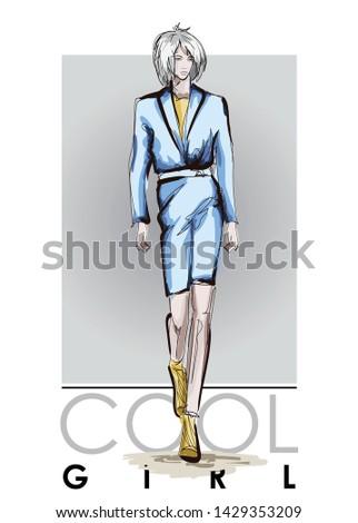 Beautiful young women in blue costume. Hand drawn fashion girl. Fashion model posing. Sketch. Vector illustration.