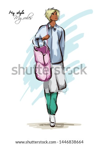 Beautiful young women in boho style clothes with a pink bag. Hand drawn fashion girl. Fashion model posing. Sketch. Vector illustration.