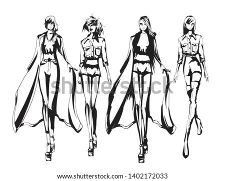 Beautiful young women in dress, trousers, blouse, cloak. Hand drawn fashion girls. Fashion model posing. Sketch. Vector illustration.