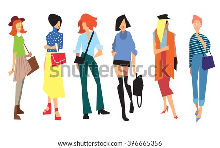 Beautiful young women in fashion clothing. Fashion women. Isolated fashion lady on white background.