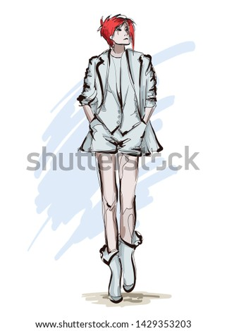 Beautiful young women in light jacket and shorts. Hand drawn fashion girl. Fashion model posing. Sketch. Vector illustration.