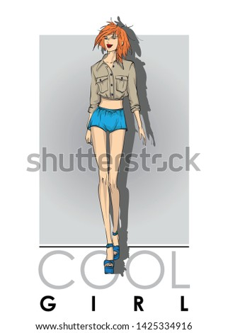 Beautiful young women in shorts and blouse. Hand drawn fashion girl. Fashion model posing. Sketch. Vector illustration.