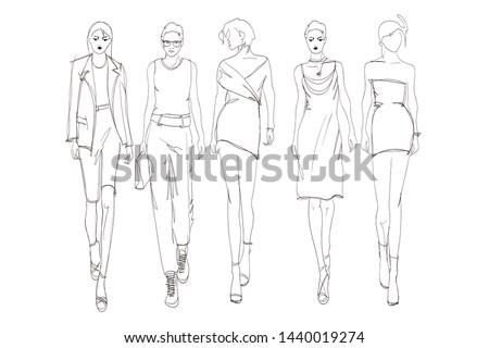 Beautiful young womens. Hand drawn fashion girls. Fashion model posing. Sketch. Vector illustration set.