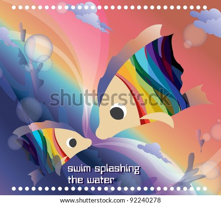 Beautifully Fantastic Seascape with Cute a pair of Fish - swim splashing the water