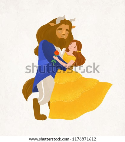 Beauty and Beast dancing waltz. Young woman and bewitched creature from magic tale. Adorable fairytale characters isolated on white background. Colorful vector illustration in flat cartoon style