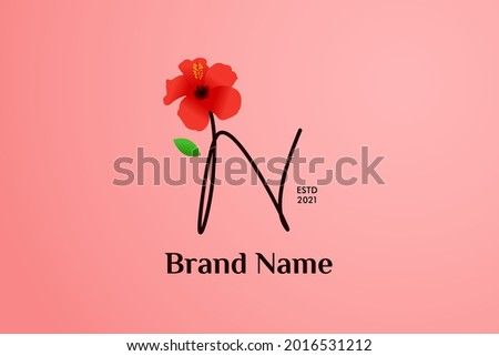Beauty and charming simple illustration logo design Initial N combine with Shoe flower. Foto stock ©