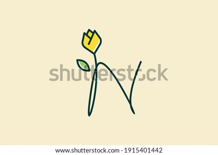 Beauty and charming simple illustration logo design Initial N combine with tulip flower. Foto stock ©